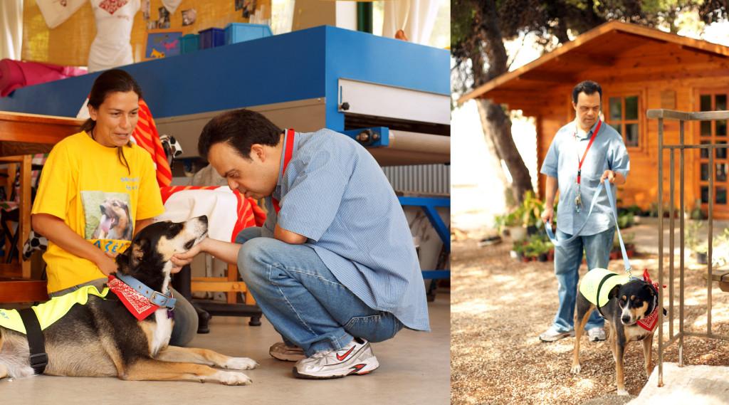 Οι πρώτες συστάσεις... Η Τάι γνωρίζεται με τον Χάρη. ∆ίπλα της, η Αθηνά Παπάζογλου, υπεύθυνη των προγραμμάτων «Εκστρατεία Ενημέρωσης» και «Σκύλοι Θεραπευτικής Επαφής» της SAPT. (Photo courtesy of Carlo Raciti | www.carloraciti.com)