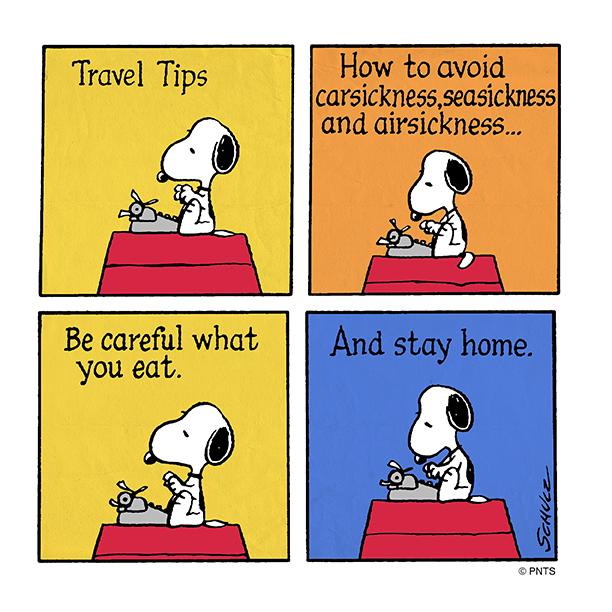 Τι λέει ο Snoopy για το ταξίδι με αυτοκίνητο, αεροπλάνο ή βαπόρι;