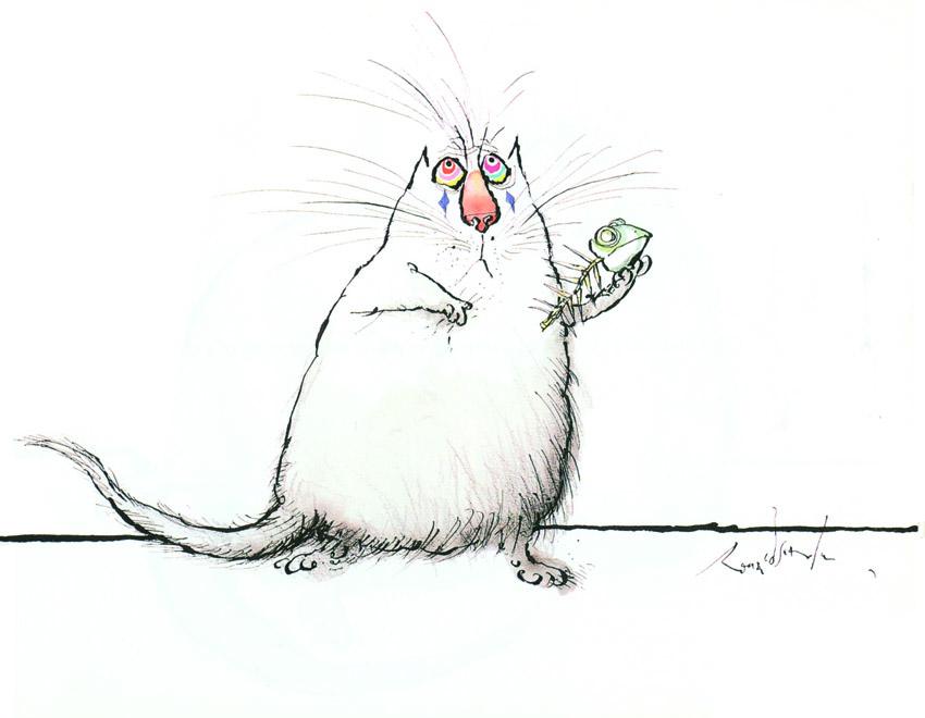 Θεατρόφιλη γάτα σε πρόβα... Άμλετ (ΣΚΙΤΣΟ: Ronald Searle)